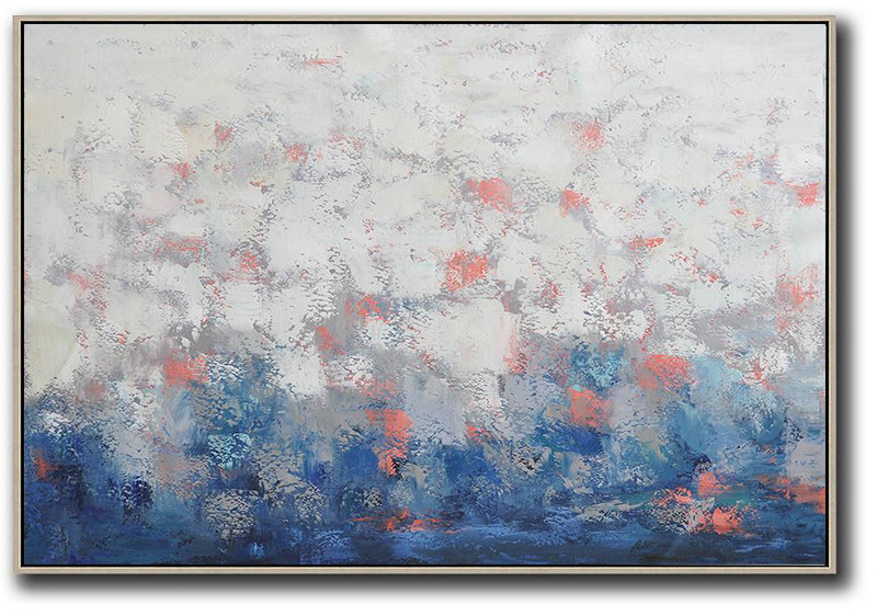 Large Abstract Art Handmade Painting,Oversized Horizontal Contemporary Art,Large Colorful Wall Art White,Grey,Blue